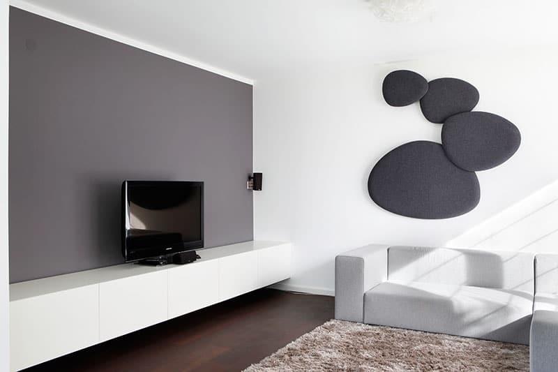 Wohnraum Parkett Eiche geräuchert, Sideboard für TV und HiFi innen und außen lackiert